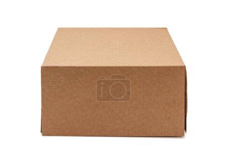 Photo for Kraft cardboard box isolated on white background. Box mockup design. - Royalty Free Image
