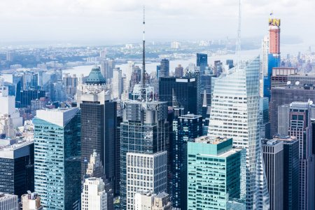 Photo for MANHATTAN, NEW YORK CITY. Manhattan skyline and skyscrapers aerial view. New York City, USA - Royalty Free Image