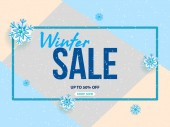 Winter sale vector banner design with white snowflakes elements and winter sale text in snow pattern background for shopping promotion Vector illustration