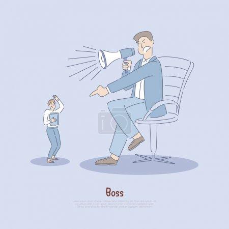 Illustration pour Employeur maltraitant travailleur, employé maltraité verbalement par le gestionnaire, utilisation excessive du pouvoir, le stress dans la bannière du lieu de travail. Le patron crie sur l'homme concept dessin animé. Illustration vectorielle plate - image libre de droit