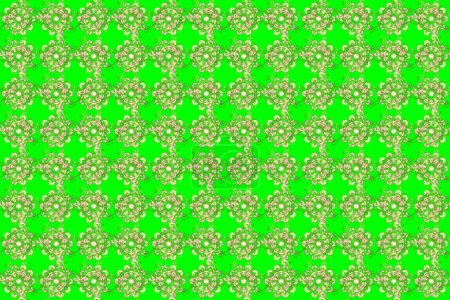 Doodles pattern. Cute background. Green, beige and...