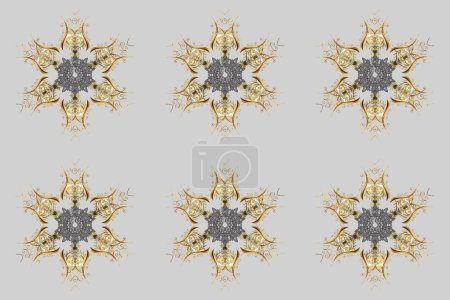 Photo for Cute abstract snowflake raster design on gray, brown and beige colors. Flat snow doodle icons, snow flakes silhouette for christmas banner, cards. New year snowflake. - Royalty Free Image