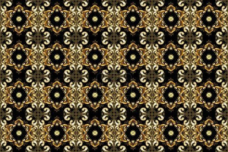 Photo for Classic raster golden seamless pattern. Classic vintage background. Seamless pattern on black, brown and beige colors with golden elements. Traditional orient ornament. - Royalty Free Image