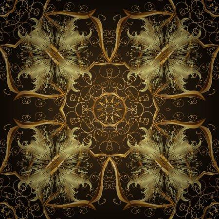 Photo pour Motif vintage sans couture sur des couleurs brunes et grises avec des éléments dorés. Noël 2019, flocon de neige, nouvel an. - image libre de droit