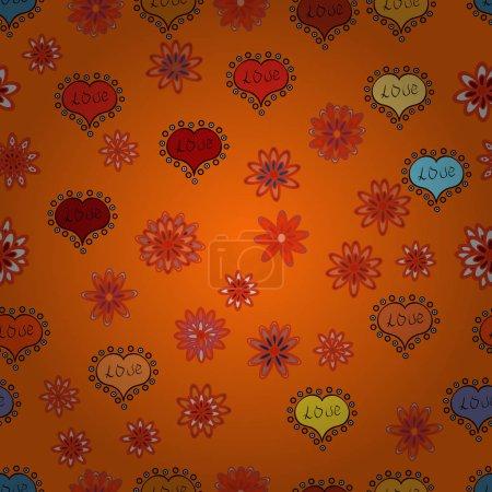 Photo pour Thème Amour et vacances. Modèle sans couture avec réaliste beau coeur orange, rouge et noir. Joyeuse Saint Valentin. Illustration illustration. - image libre de droit