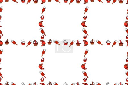 Photo for Raster illustration. Seamless. Hand drawn raster border frame doodles. - Royalty Free Image