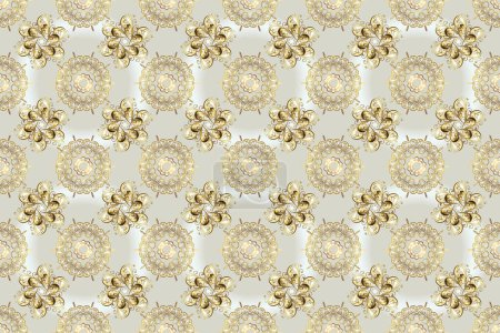 Photo pour Motif vintage sans couture sur des couleurs beige et gris avec des éléments dorés. Illustration raster. - image libre de droit