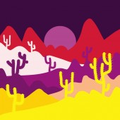 Fashionable print Background with cacti on yellow brown and purple colors Vector illustration
