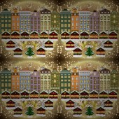 Evening city winter landscape with snow cove beige brown and neutral houses and christmas tree Holidays Vector illustration