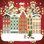 Winter nature landscape Winter in the city christmas decor fir-trees Vector Greeting card poster design Cute town Christmas eve Vector Winter houses road tree New year holidays Cityscape