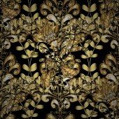 Golden floral sketch Damask background Golden element on black yellow and brown colors Seamless pattern Gold black yellow and brown floral ornament in baroque style