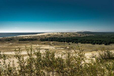 Photo pour Paysage estival avec dunes de sable blanc, buissons et ciel. Broche couronnée, mer Baltique. Site du patrimoine mondial de l'UNESCO. Photo prise en Lituanie . - image libre de droit