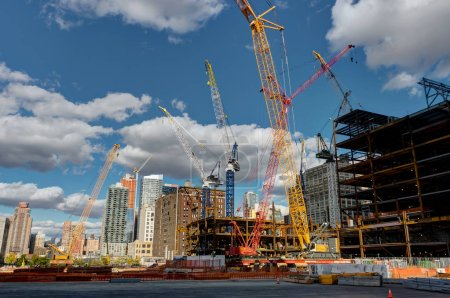 Photo for Photo taken in New York USA, August 2017: New York Highline Construction Work Cranes Building - Royalty Free Image