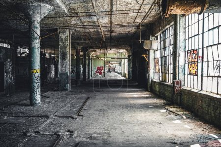 Photo for Detroit, Michigan, United States - October 18 2018: View of the abandoned Fisher Body Plant in Detroit. The Fisher Body Plant sprawls multiple city blocks and measures in at 3.5 million square feet - Royalty Free Image