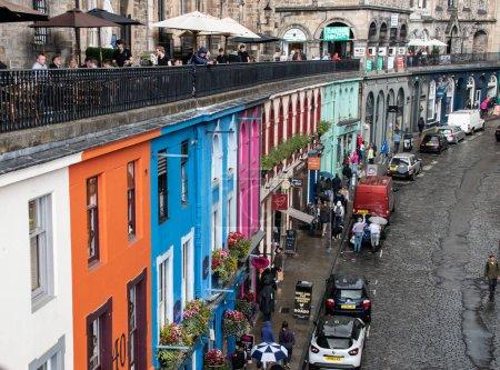 Edinburgh, United Kingdom - August 10 2018:   The brightly coloured houses of JohnstoneTerrace