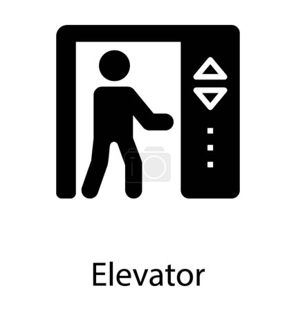 A human avatar pressing the lift buttons to move in different stores of building depicting elevator