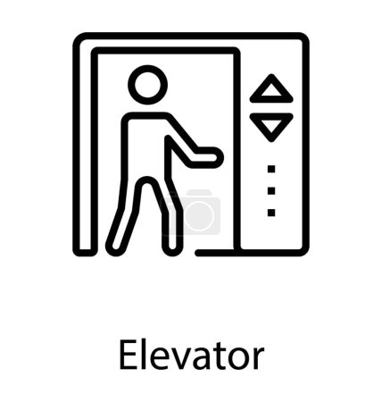 A human avatar pressing the lift buttons to move in different storeys of building depicting elevator