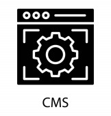 Web page with focused gear showing icon of CMS