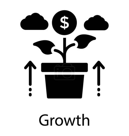A growing plant with the dollars on leaves depicting business growth