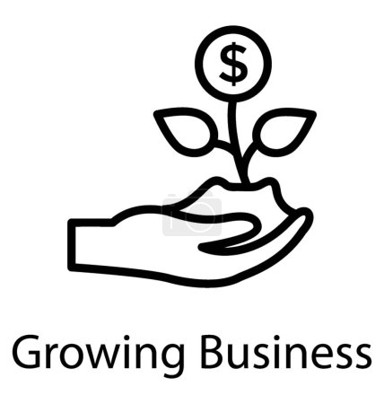 A hand held growing plant with having dollar sign, growing business