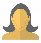 Young woman having acne scars problem acne face flat icon image