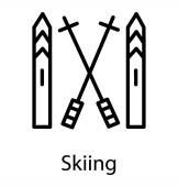 Two boating ors type sticks depicting skling