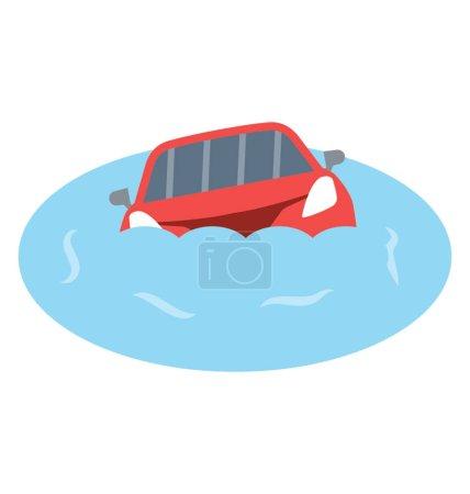 voiture naufrage plat détails icône