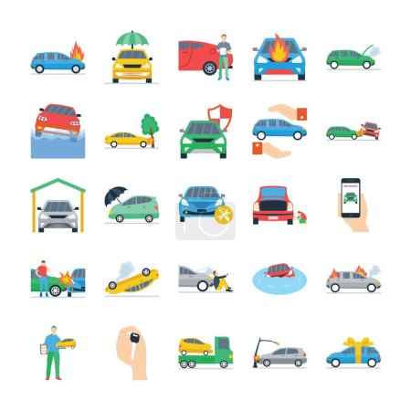 Assurance auto Flat Icons Pack