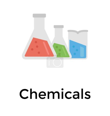 Chemical flask flat icon vector