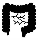 Solid vector icon of intestine