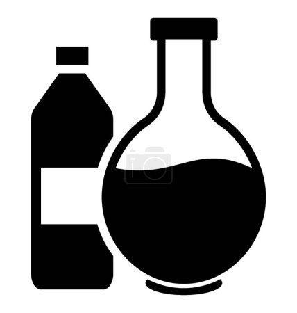 Chemical flask glyph icon vector
