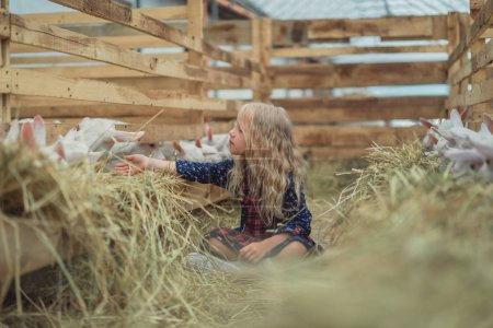 smiling kid touching goats through fence in stable