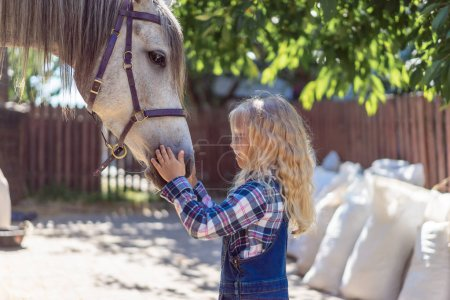 side view of child palming horse at farm