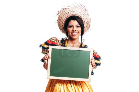 Photo for Brazilian woman wearing typical clothes for the Festa Junina - June festival - Royalty Free Image