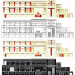 Palace of Knossos in Greece. Vector in front view....