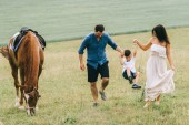 parents and son holding hands and having fun near horse on field
