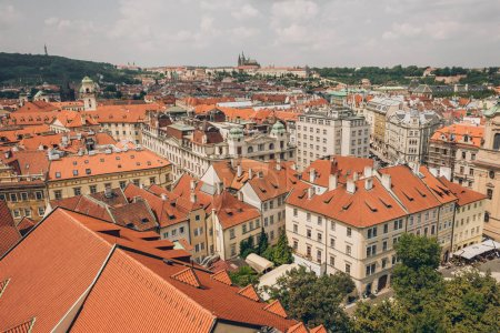 aerial view of beautiful prague old town cityscape with ancient architecture
