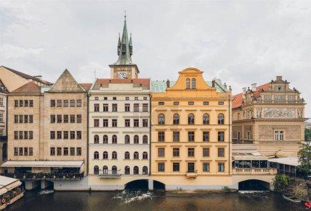 beautiful houses and Vltava river in prague, czech republic