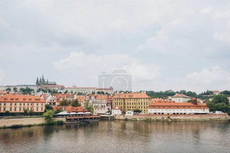 beautiful Vltava river and architecture in prague, czech republic