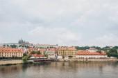 beautiful Vltava river and architecture in prague, czech republic