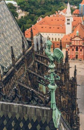 detail of beautiful Prague Castle and rooftops in prague, czech republic