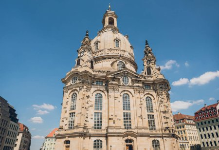 low angle view of beautiful famous Church of Our Lady (Dresden Frauenkirche) in Dresden, Germany