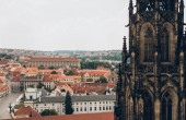 aerial view of prague cityscape with beautiful cathedral and ancient architecture