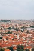 """Постер, картина, фотообои """"Аэрофотоснимок красивый город Прага с знаменитой реки Влтава и Карлов мост"""""""