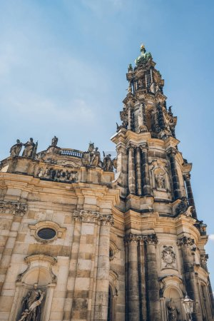 low angle view of beautiful Dresden Cathedral or Cathedral of the Holy Trinity against blue sky, Dresden, Germany