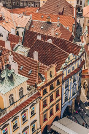PRAGUE, CZECH REPUBLIC - JULY 23, 2018: aerial view of rooftops and beautiful architecture in prague old town