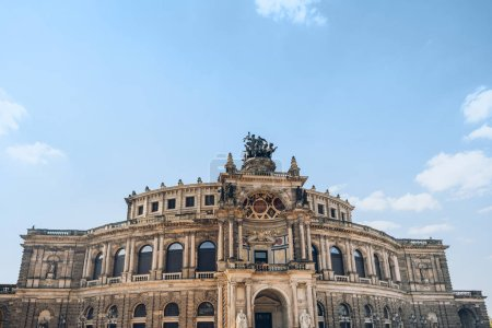 low angle view of beautiful architecture of Semperoper opera house in Dresden, Germany