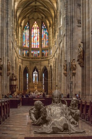 PRAGUE, CZECH REPUBLIC - JULY 23, 2018: people and sculptures inside st vitus cathedral in prague, czech republic