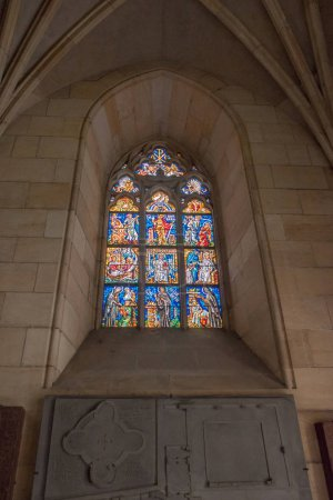 PRAGUE, CZECH REPUBLIC - JULY 23, 2018: stained glass window inside st vitus cathedral in prague, czech republic