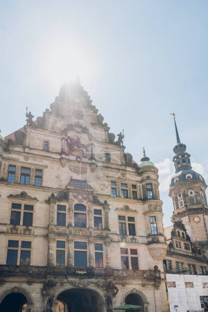 DRESDEN, GERMANY - JULY 24, 2018: low angle view of beautiful ancient architecture in Dresden, Germany